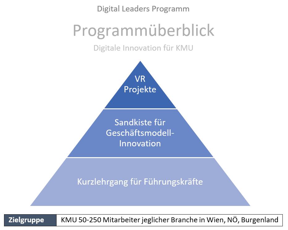 Das Programm besteht aus einem Kurzlehrgang für Führungskräfte, einer Sandkiste für Geschäftsmodellinnovation und Projekten in Bereich VR.