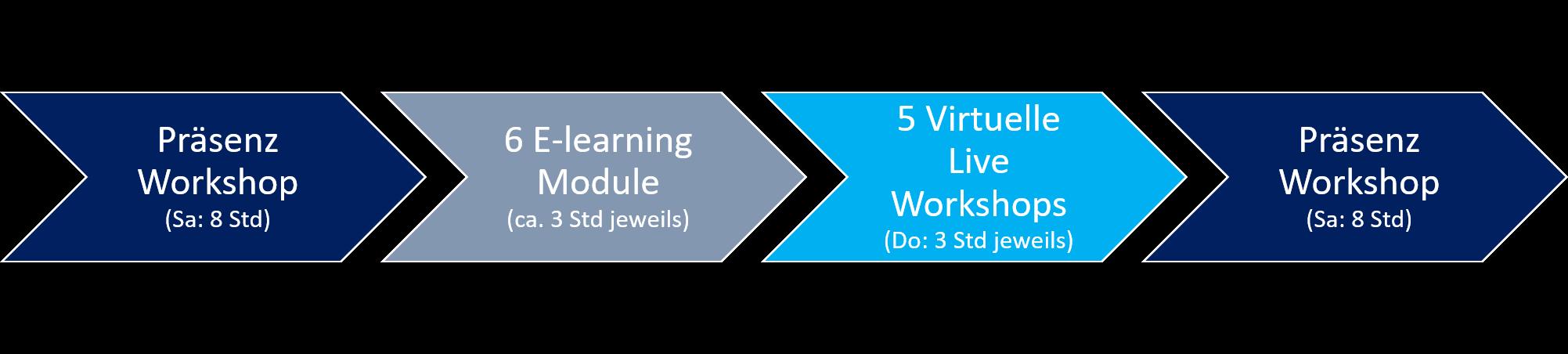 Ablauf des Lehrgangs: Präsenzworkshop (8h) - 6 E-Learning Module (6 x 3h) - 6 Virtuelle Workshops (6x3h) - Präsenzworkshop (8h)